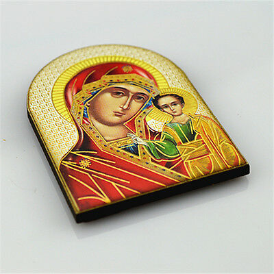 Wooden Magnet with Religious Holy Mother and Child Orthodox Picture