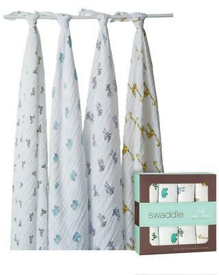 aden + anais Classic Swaddle, 4 Pack (Jungle Jam) - 120x120cm Free Shipping!