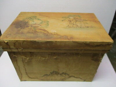 Antique Japanese Tea Shipping Box Crate Container Lidded Tin Lined 19th Century