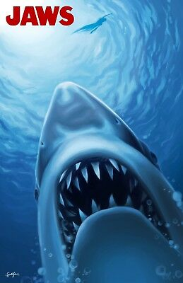 Jaws Classic Horror Movie 80's Shark Film Poster Large Framed Canvas Pictures