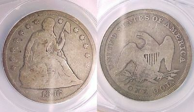 1847 NO Motto Seated Liberty Dollar ANACS Certified VG 8