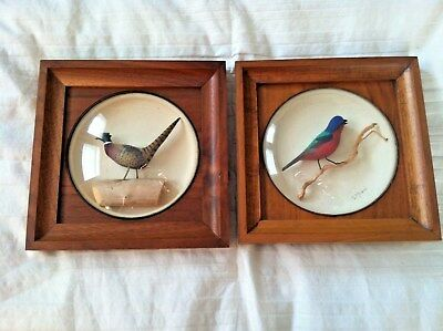 William Reinbold Pheasant and Painted Bunting Miniature Decoy Dioramas Set of 2