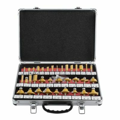 "ROUTER BITS SET - 35 pc 1/4"" inch Shank CARBIDE KIT ALUMINUM CASE SAE New US"