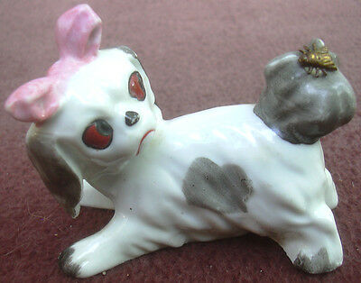 Shih Tzu Puppy Girl Dog Figurine With Bee On Tail Gray & White Ceramic Porcelain