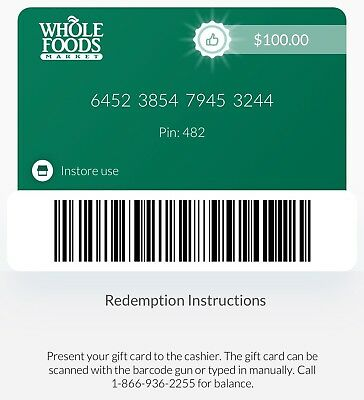 $30 - $200 Whole Foods Discount Paper Gift Card - Mail Delivery