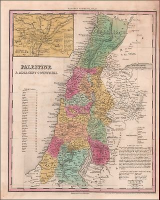 PALESTINE, ISRAEL, HOLY LAND, H.S. TANNER MAP, PHILA., antique original 1843