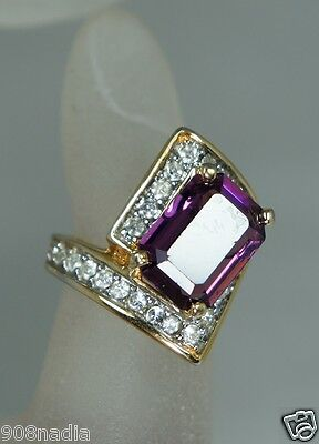Vintage 18K Gold Plated & Amethyst Art Deco Style Ring Size  6