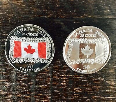 2x-2015 UNC Canadian Flag Quarters.1 Color And 1 Plain. Fresh From Mint Roll.