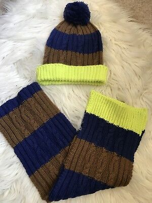 NWOT Mini Boden Boys stripe hat and scarf scarf set 2-6