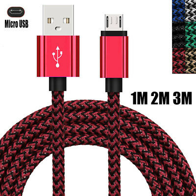 1~3M Micro USB Fast Charger Data Transfer Weave Cable For Samsung HUAWEI Android
