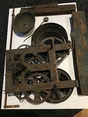 Two Antique Clock Movements, One French One American Shelf Type