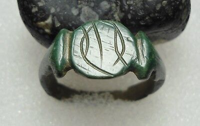 Ancient Roman Bronze Ring Initials Original Authentic Antique Rare R77