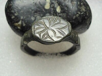 Ancient Roman Bronze Ring Initials Original Authentic Antique Rare R75