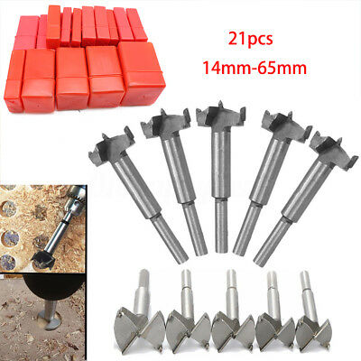 AU 21Sizes 14mm-65mm HSS Forstner Woodworking Wood Hole Saw Cutter Drill Bit set