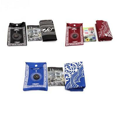 PORTABLE TRAVEL POCKET PRAYER MAT RUG WITH QIBLA KAABA COMPASS IN POUCH &Best
