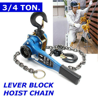 US 3/4 Ton Lever Block Chain Hoist Ratchet Type Come Along Puller Lifter Safety