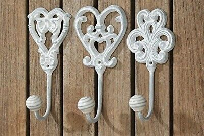 Set Shabby Chic Antique Country Vintage Hooks Metal Wall Mounted Coat Hat French