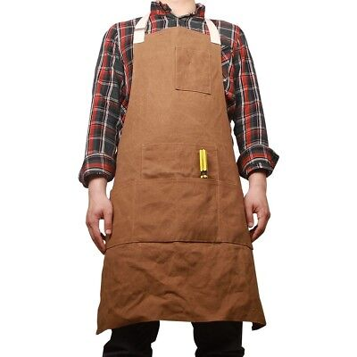 Waxed Canvas Work Shop Apron Bib with Six Pockets Waterproof Thick Heavy Duty Ut