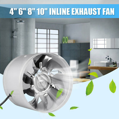 4''-10'' Inline Duct Fan Booster Exhaust Blower Air Cooling Vent Metal Blade US