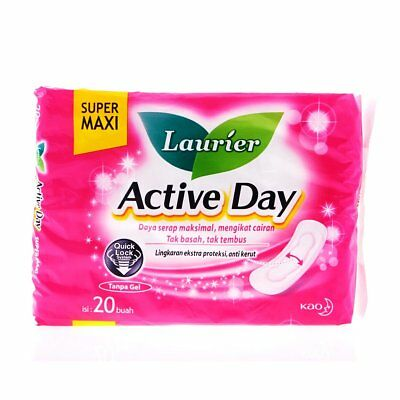 Sanitary Napkins Laurier Active Day Super Maxi Non Wings Menstrual Pad 20 Pieces
