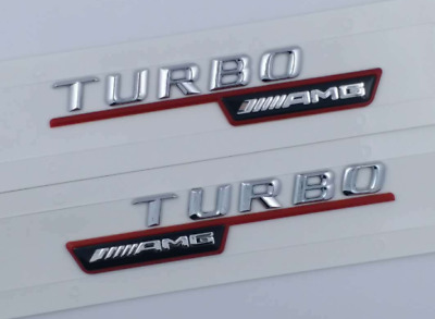 2X Chrome TURBO AMG Letters Trunk Emblem Badge Sticker for Mercedes Benz AMG