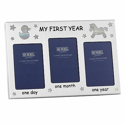 Silver New Baby Triple Photo Frame - 1 Day / 1 Month / 1 Year