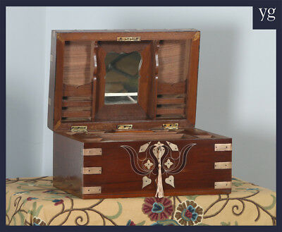 Antique Victorian Colonial Indian Teak Brass Writing Jewellery Sewing Box c.1880
