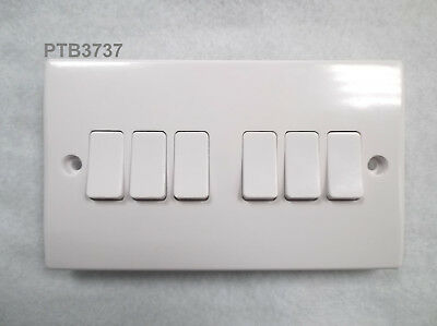 6 Gang 2 Way Light Switch 10Ax White Finish By Get