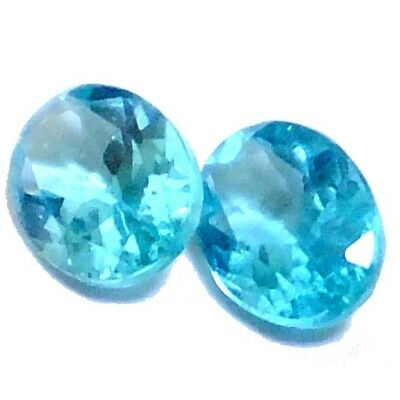 NATURAL OVAL-CUT BLUE APATITE GEMSTONES LOOSE PAIR - 8 x 6 mm. AWESOME GEM
