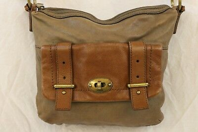 05b7baa32a FOSSIL Taupe  Brown Leather ZB5138 Small Zip Top Hobo Crossbody Bag Purse