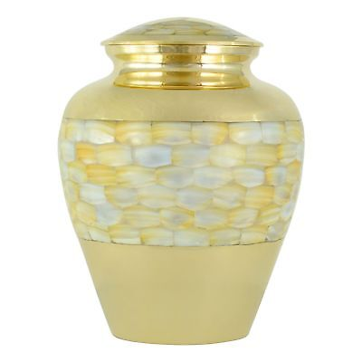 Large Adult 230 Cubic Inches Mother Of Pearl Brass Cremation