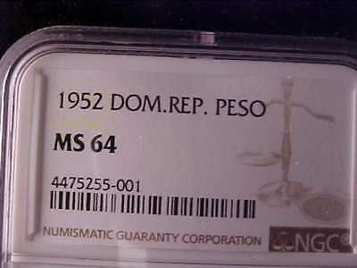 Dominican Republic One Peso 1952 Ngc Ms 64