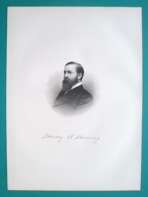 HENRY BANNING Ohio Civil War Soldier & Lawyer - 1883 Superb Portrait Print