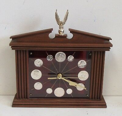 Vintage Cherry Wood Clock With United States Silver Coin Dial 90% & 40% Silver