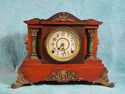 Antique 1890's SETH THOMAS Mantle Clock ADAMANTINE Clock WORKS 8 days