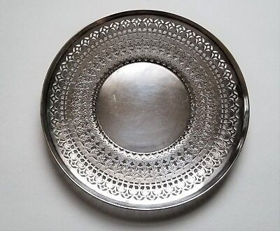 Vintage / Antique Sheffield Silver Plated Reticulated Plate / Tray #2709