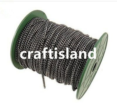 Wholesale 50 meters 5x3.6mm gunmetal finish twisted chain in roll-ch5