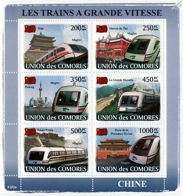 The HIGH SPEED TRAINS of CHINA (Shanghai Maglev) Stamp Sheet (2008 Comoros)