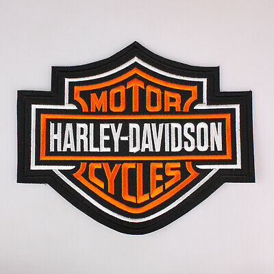 """Harley Davidson Bar And Shield Embroidered Patch Iron On 9.8x8.2"""" 25x21Cm"""