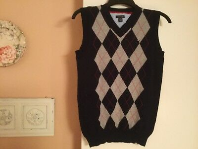 bb91ebde0 TOMMY HILFIGER BOYS V-Neck Navy Blue Argyle Pullover Sweater Vest ...