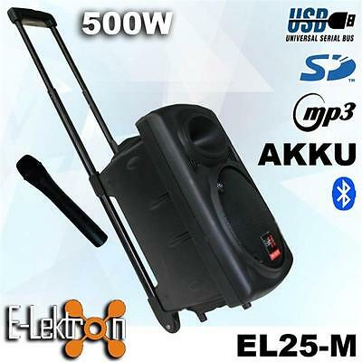"""10"""" inch 500W Mobile PA Sound System Battery BT/MP3/USB/SD Mic Portable Speaker"""