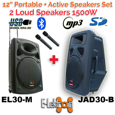 "2 X 12"" inch 1500W Portable+Active Speakers Sound System Battery PA BT/USB/ Mics"