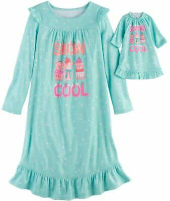 """NWT Girls Snow Cool Nightgown & 18"""" Doll Gown Fits American Girl Dollie & Me"""