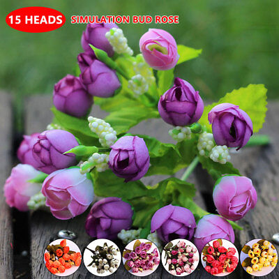 Colorful Silk Flowers 15 Head Mini Rose Home For Wedding Bouquet Decoration