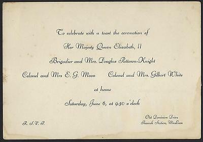 Uk Gb 1953 Rsvp Invitation To Celebrate The Coronation Of Queen Elizabeth Ii