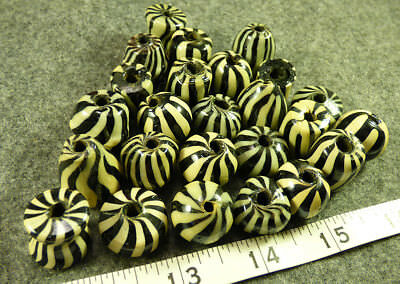 Collection of Large Wound Chevron Beads 150+ Years Old Venetian Glass