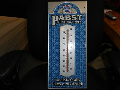 Vintage 1950s Pabst Blue Ribbon Beer Metal Thermometer NOS MINT