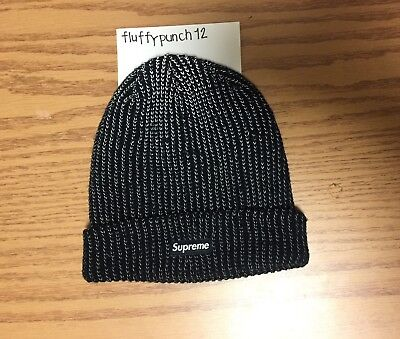 9c904a98808 SUPREME REFLECTIVE LOOSE Gauge Beanie - Black - FW17 - NEW -  110.00 ...