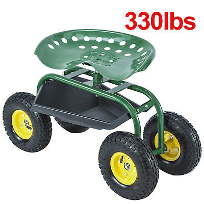 Good Green Rolling Garden Cart Work Seat With Heavy Duty Tool Tray Planting  Gardening
