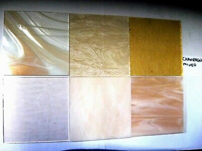 6 Champagne Stained Glass Hobby Sheets 100mm x 100mm x 3mm  Quality Craft Items